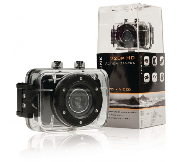 "HD-actiecamera 720p met 2""-touchscreen"